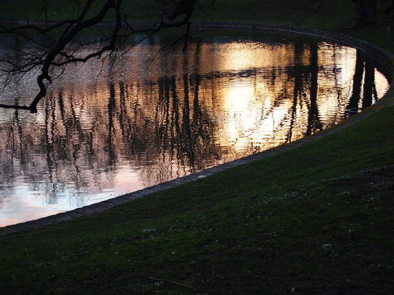 Ein See, der die Abendsonne spiegelt.