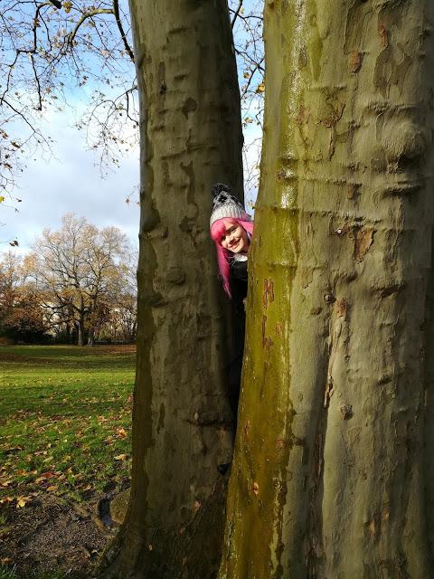 Ich schaue hinter einem Baum hervor